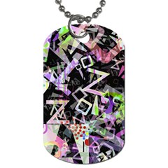 Chaos With Letters Black Multicolored Dog Tag (two Sides) by EDDArt