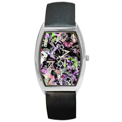 Chaos With Letters Black Multicolored Barrel Style Metal Watch by EDDArt