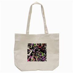 Chaos With Letters Black Multicolored Tote Bag (cream) by EDDArt