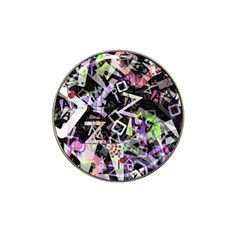 Chaos With Letters Black Multicolored Hat Clip Ball Marker (4 Pack) by EDDArt