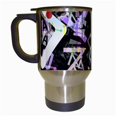 Chaos With Letters Black Multicolored Travel Mugs (white) by EDDArt