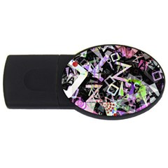 Chaos With Letters Black Multicolored Usb Flash Drive Oval (4 Gb) by EDDArt