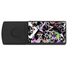 Chaos With Letters Black Multicolored Usb Flash Drive Rectangular (4 Gb) by EDDArt