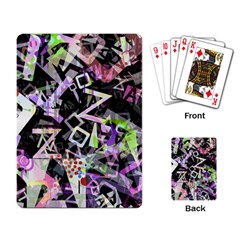 Chaos With Letters Black Multicolored Playing Card by EDDArt