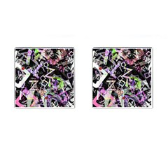 Chaos With Letters Black Multicolored Cufflinks (square) by EDDArt
