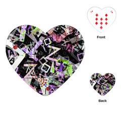 Chaos With Letters Black Multicolored Playing Cards (heart)  by EDDArt