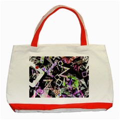 Chaos With Letters Black Multicolored Classic Tote Bag (red) by EDDArt