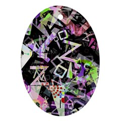 Chaos With Letters Black Multicolored Oval Ornament (two Sides) by EDDArt