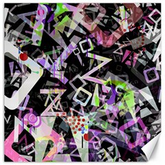 Chaos With Letters Black Multicolored Canvas 12  X 12   by EDDArt