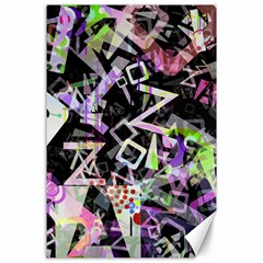 Chaos With Letters Black Multicolored Canvas 24  X 36  by EDDArt