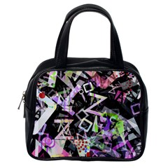 Chaos With Letters Black Multicolored Classic Handbags (one Side) by EDDArt