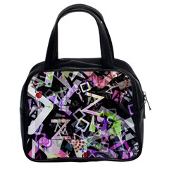 Chaos With Letters Black Multicolored Classic Handbags (2 Sides) by EDDArt