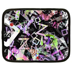 Chaos With Letters Black Multicolored Netbook Case (xl)  by EDDArt