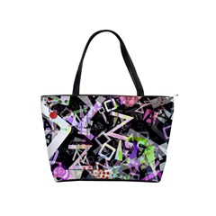 Chaos With Letters Black Multicolored Shoulder Handbags by EDDArt