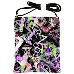 Chaos With Letters Black Multicolored Shoulder Sling Bags by EDDArt