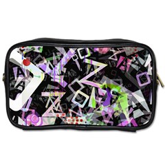 Chaos With Letters Black Multicolored Toiletries Bags 2 Side by EDDArt