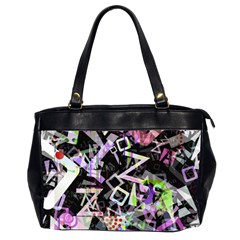 Chaos With Letters Black Multicolored Office Handbags (2 Sides)  by EDDArt