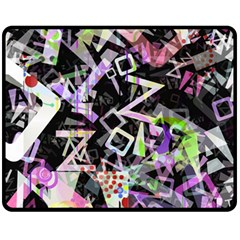 Chaos With Letters Black Multicolored Fleece Blanket (medium)  by EDDArt