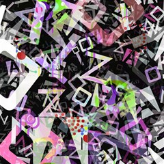 Chaos With Letters Black Multicolored Magic Photo Cubes by EDDArt