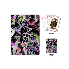 Chaos With Letters Black Multicolored Playing Cards (mini)  by EDDArt