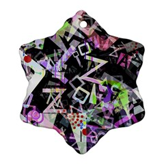 Chaos With Letters Black Multicolored Snowflake Ornament (two Sides) by EDDArt