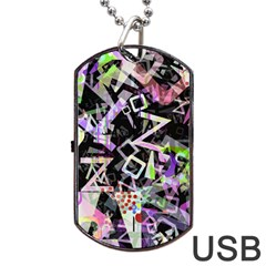 Chaos With Letters Black Multicolored Dog Tag Usb Flash (two Sides) by EDDArt