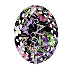Chaos With Letters Black Multicolored Oval Filigree Ornament (two Sides) by EDDArt