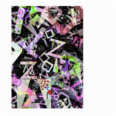 Chaos With Letters Black Multicolored Large Garden Flag (two Sides) by EDDArt