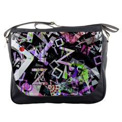 Chaos With Letters Black Multicolored Messenger Bags by EDDArt