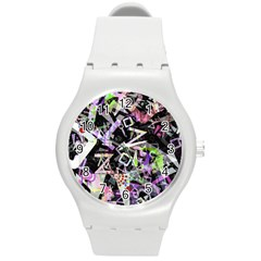 Chaos With Letters Black Multicolored Round Plastic Sport Watch (m) by EDDArt