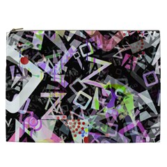 Chaos With Letters Black Multicolored Cosmetic Bag (xxl)  by EDDArt
