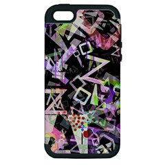 Chaos With Letters Black Multicolored Apple Iphone 5 Hardshell Case (pc+silicone) by EDDArt