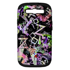 Chaos With Letters Black Multicolored Samsung Galaxy S Iii Hardshell Case (pc+silicone) by EDDArt