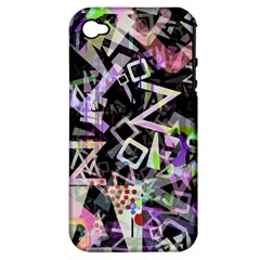 Chaos With Letters Black Multicolored Apple Iphone 4/4s Hardshell Case (pc+silicone) by EDDArt