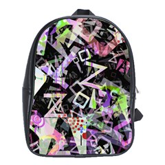 Chaos With Letters Black Multicolored School Bags (xl)  by EDDArt