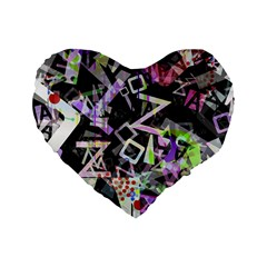 Chaos With Letters Black Multicolored Standard 16  Premium Heart Shape Cushions by EDDArt