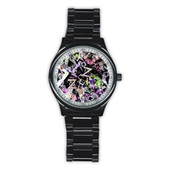Chaos With Letters Black Multicolored Stainless Steel Round Watch by EDDArt