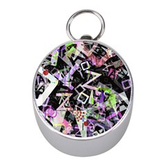 Chaos With Letters Black Multicolored Mini Silver Compasses by EDDArt