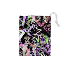Chaos With Letters Black Multicolored Drawstring Pouches (small)  by EDDArt