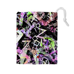 Chaos With Letters Black Multicolored Drawstring Pouches (large)  by EDDArt