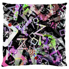 Chaos With Letters Black Multicolored Large Flano Cushion Case (one Side) by EDDArt