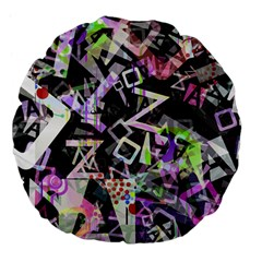 Chaos With Letters Black Multicolored Large 18  Premium Flano Round Cushions by EDDArt