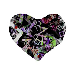 Chaos With Letters Black Multicolored Standard 16  Premium Flano Heart Shape Cushions by EDDArt