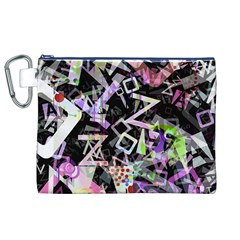 Chaos With Letters Black Multicolored Canvas Cosmetic Bag (xl) by EDDArt