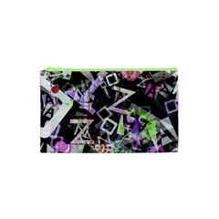 Chaos With Letters Black Multicolored Cosmetic Bag (xs) by EDDArt