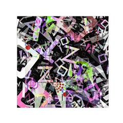 Chaos With Letters Black Multicolored Small Satin Scarf (square) by EDDArt