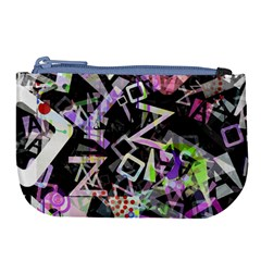 Chaos With Letters Black Multicolored Large Coin Purse by EDDArt