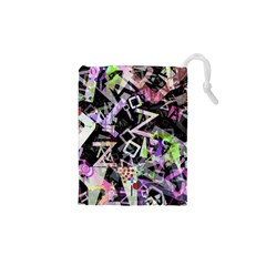 Chaos With Letters Black Multicolored Drawstring Pouches (xs)  by EDDArt