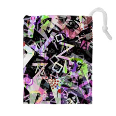 Chaos With Letters Black Multicolored Drawstring Pouches (extra Large) by EDDArt