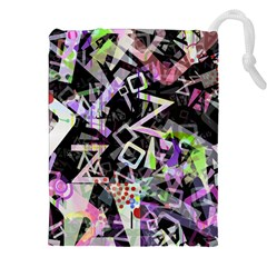 Chaos With Letters Black Multicolored Drawstring Pouches (xxl) by EDDArt